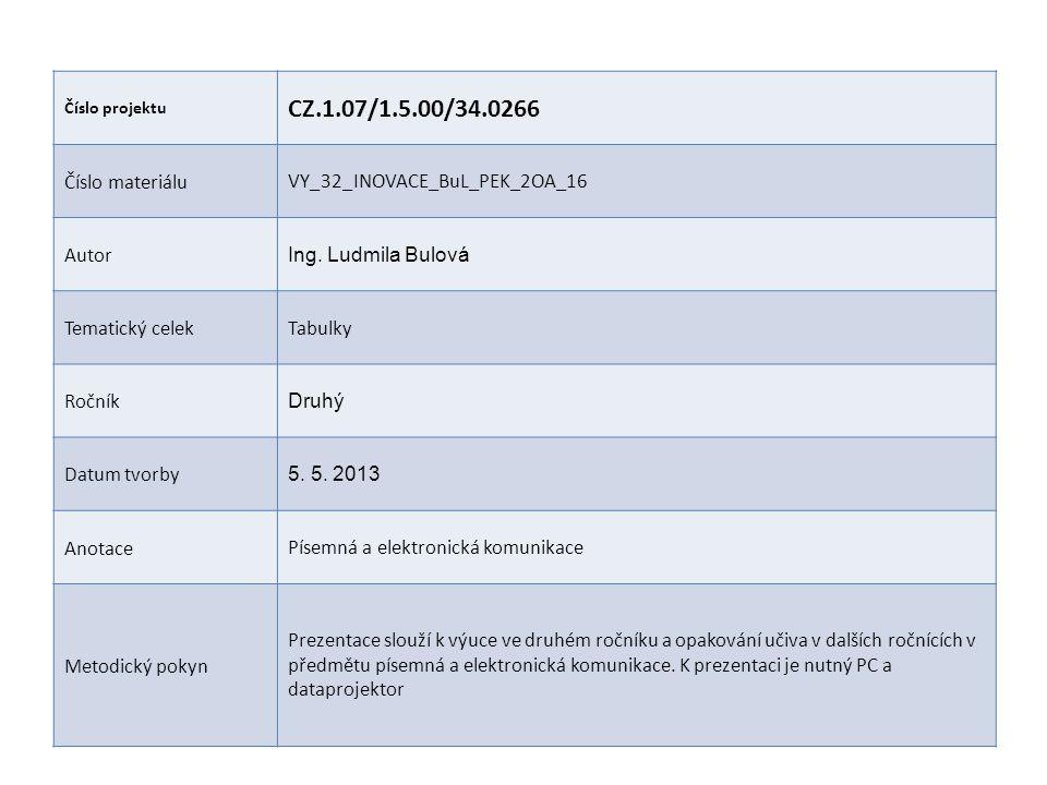 CZ.1.07/1.5.00/34.0266 Číslo materiálu VY_32_INOVACE_BuL_PEK_2OA_16