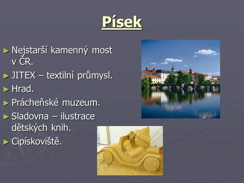Písek Nejstarší kamenný most v ČR. JITEX – textilní průmysl. Hrad.