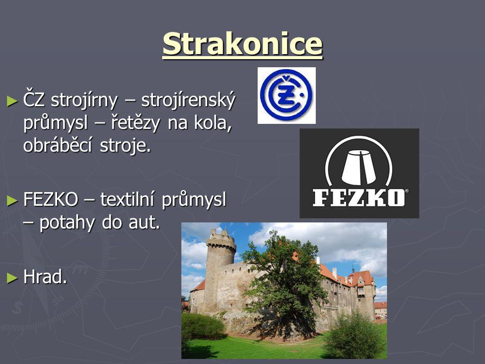 Strakonice ČZ strojírny – strojírenský průmysl – řetězy na kola, obráběcí stroje. FEZKO – textilní průmysl – potahy do aut.