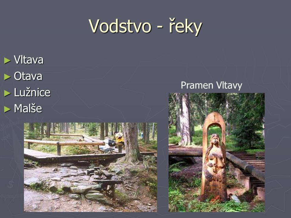Vodstvo - řeky Vltava Otava Lužnice Malše Pramen Vltavy