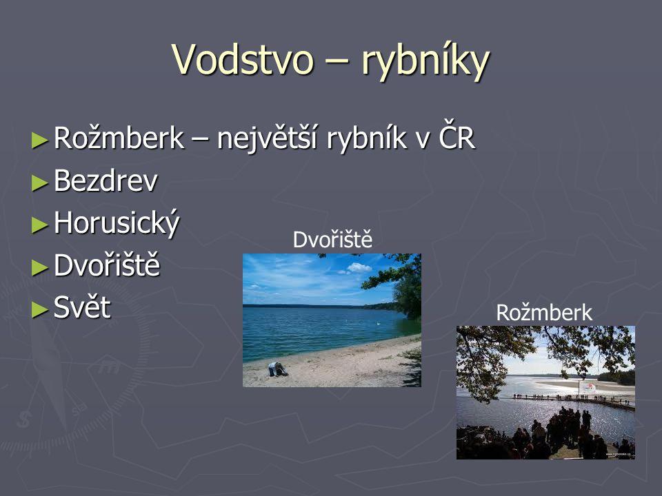 Vodstvo – rybníky Rožmberk – největší rybník v ČR Bezdrev Horusický