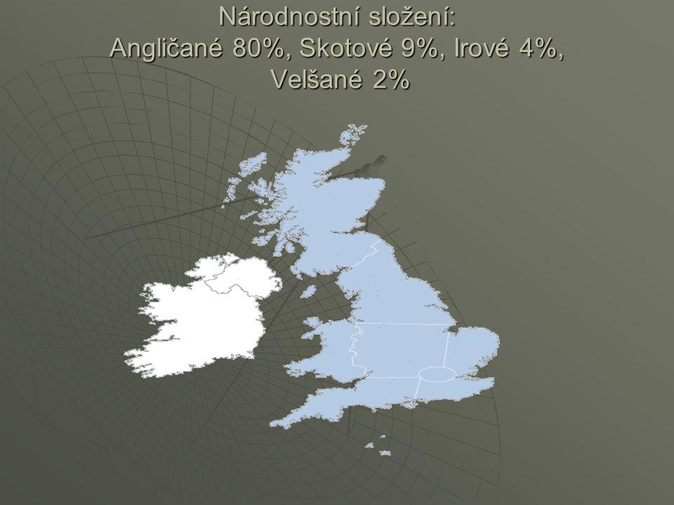 Národnostní složení: Angličané 80%, Skotové 9%, Irové 4%, Velšané 2%