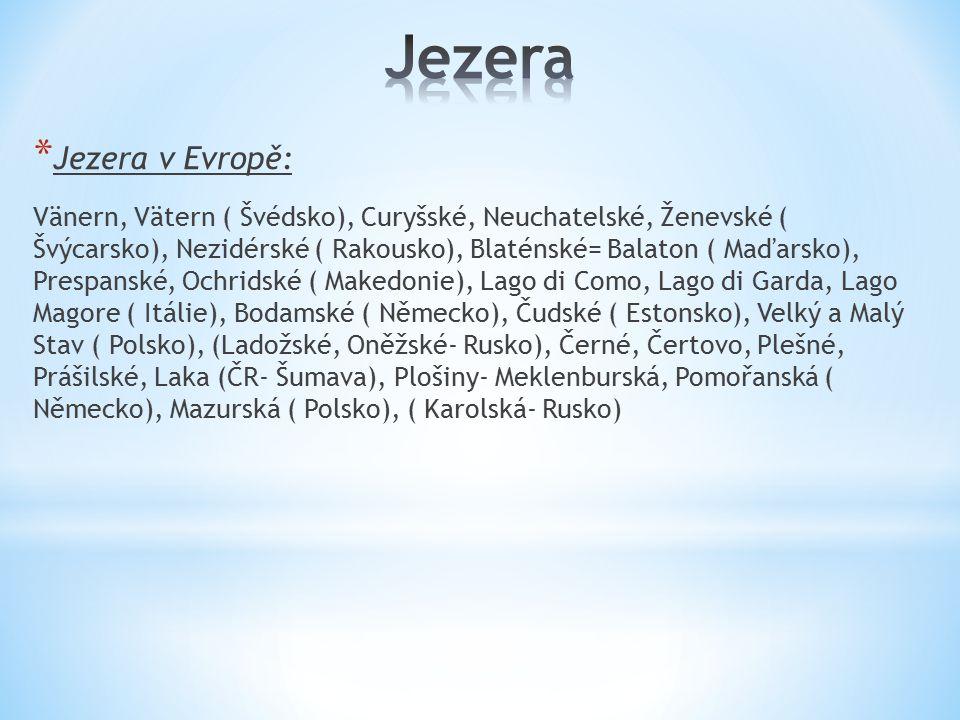 Jezera Jezera v Evropě: