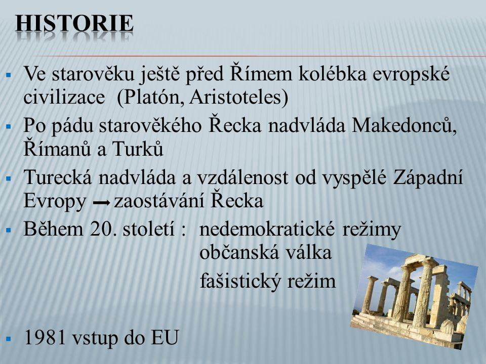 Historie Ve starověku ještě před Římem kolébka evropské civilizace (Platón, Aristoteles)