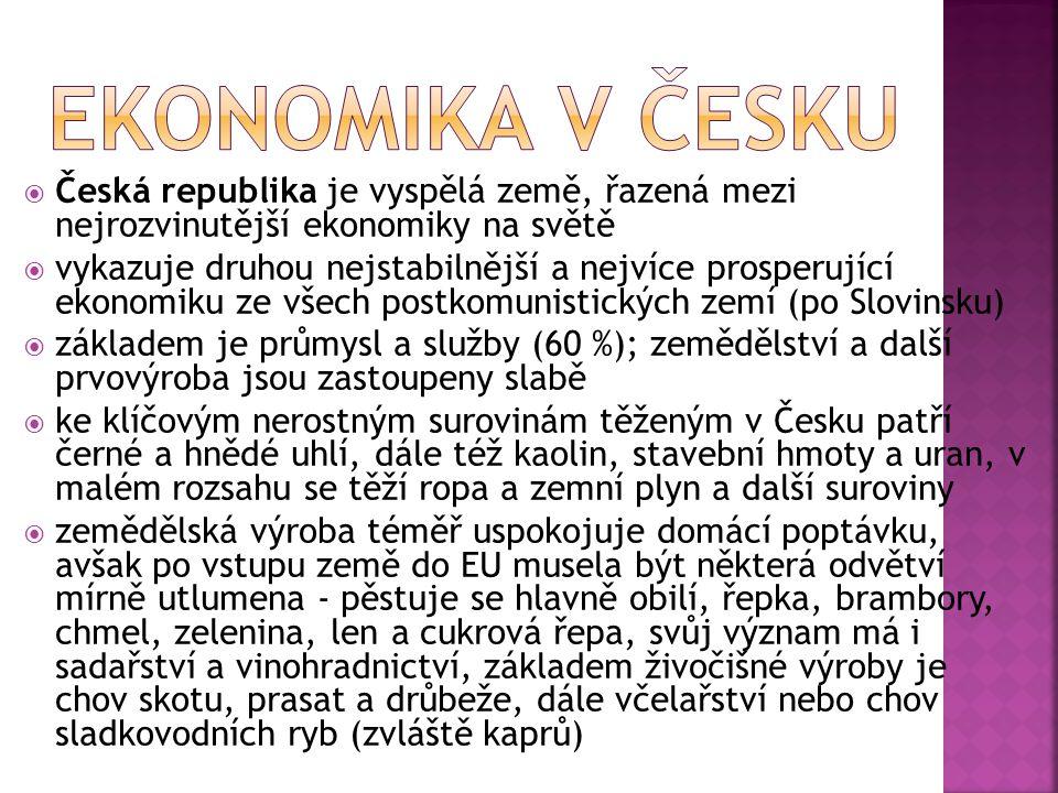 EKONOMIKA V ČESKU Česká republika je vyspělá země, řazená mezi nejrozvinutější ekonomiky na světě.