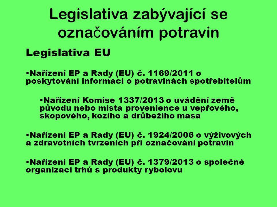 Legislativa zabývající se označováním potravin