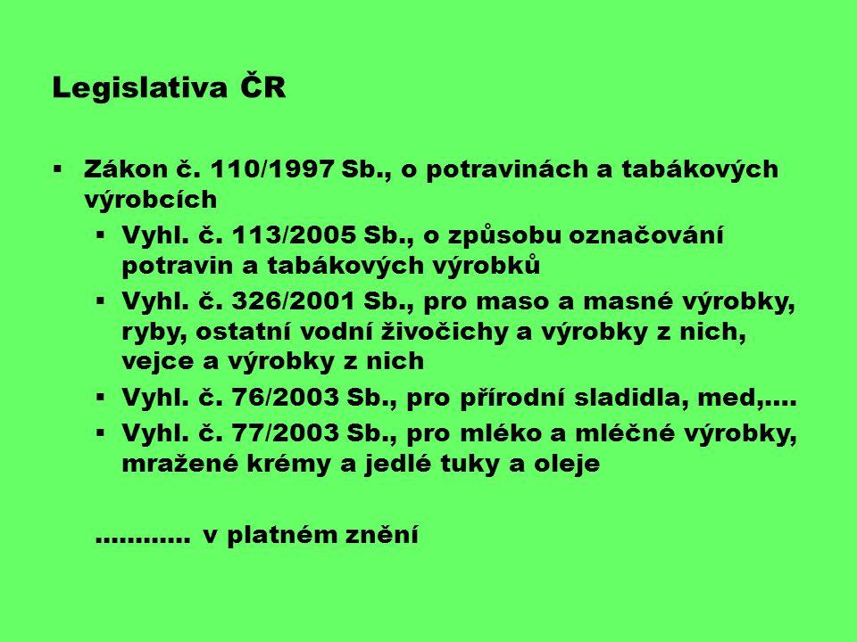 Legislativa ČR Zákon č. 110/1997 Sb., o potravinách a tabákových výrobcích.