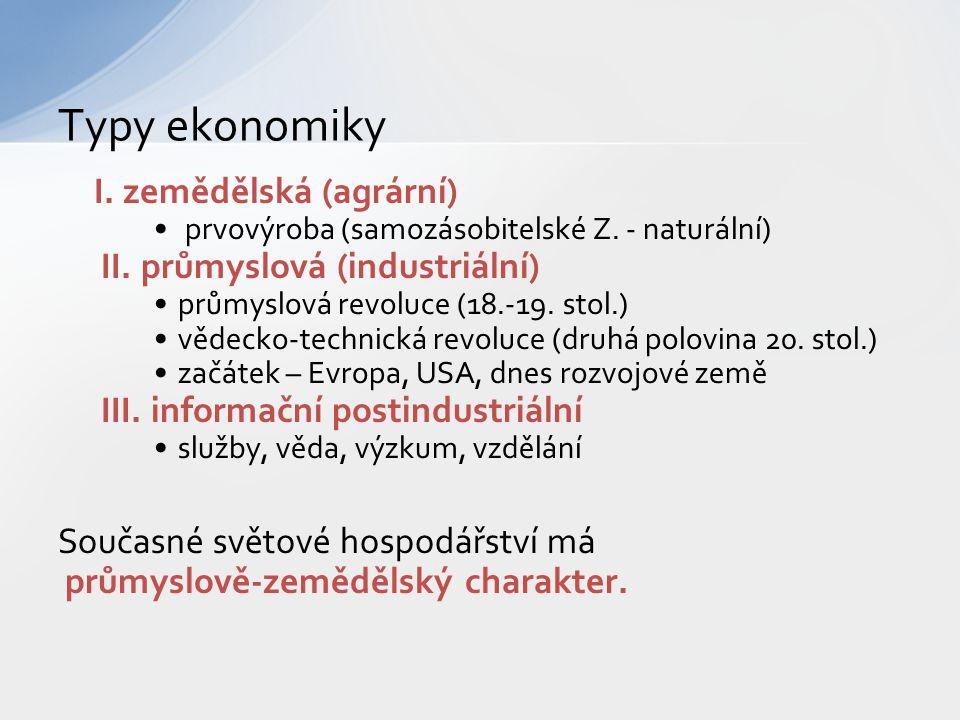 Typy ekonomiky I. zemědělská (agrární) II. průmyslová (industriální)