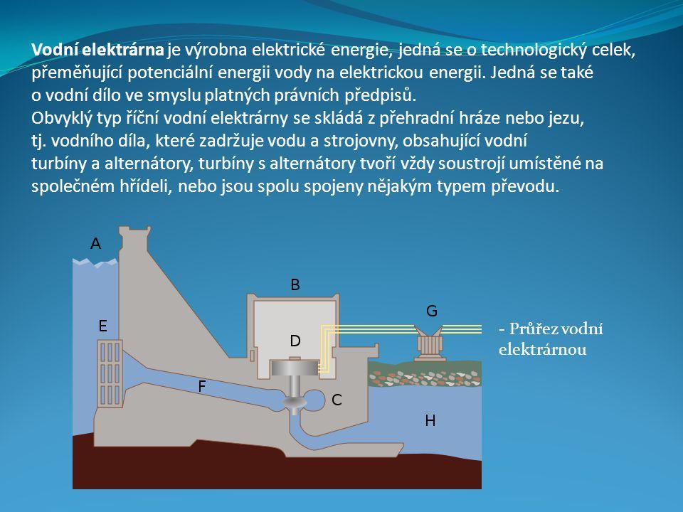 Vodní elektrárna je výrobna elektrické energie, jedná se o technologický celek, přeměňující potenciální energii vody na elektrickou energii. Jedná se také o vodní dílo ve smyslu platných právních předpisů.