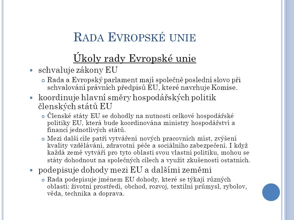 Úkoly rady Evropské unie
