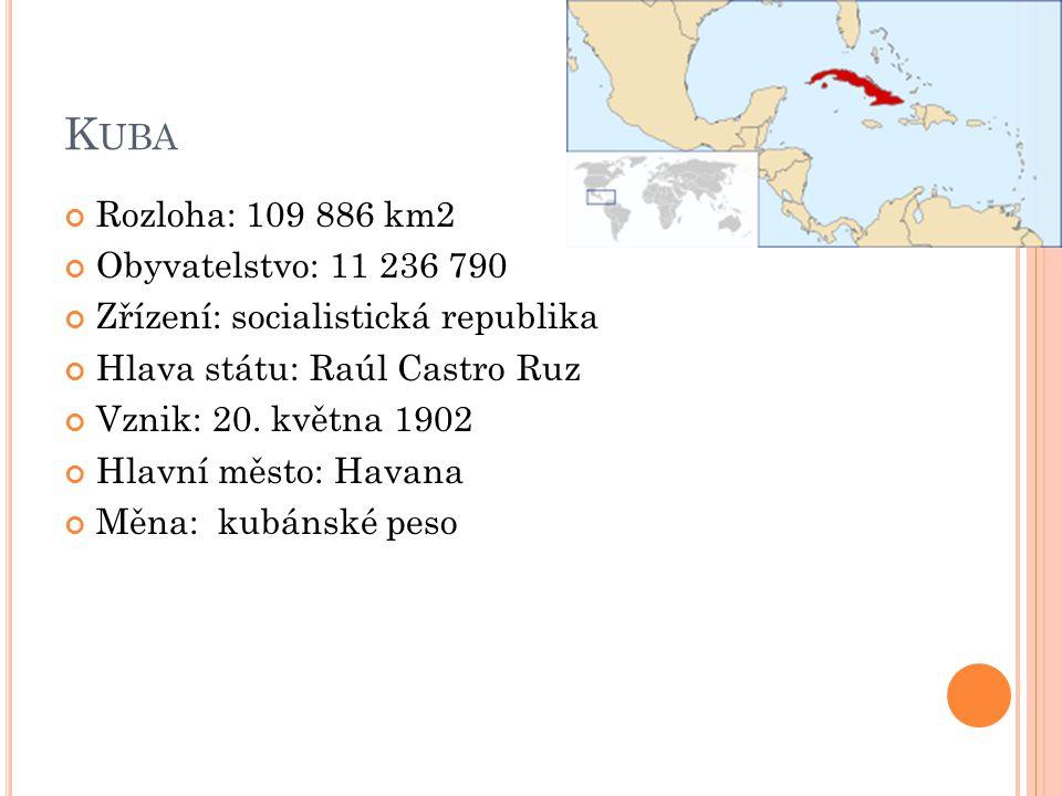 Kuba Rozloha: 109 886 km2 Obyvatelstvo: 11 236 790