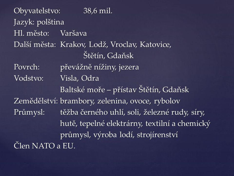 Obyvatelstvo: 38,6 mil. Jazyk: polština Hl