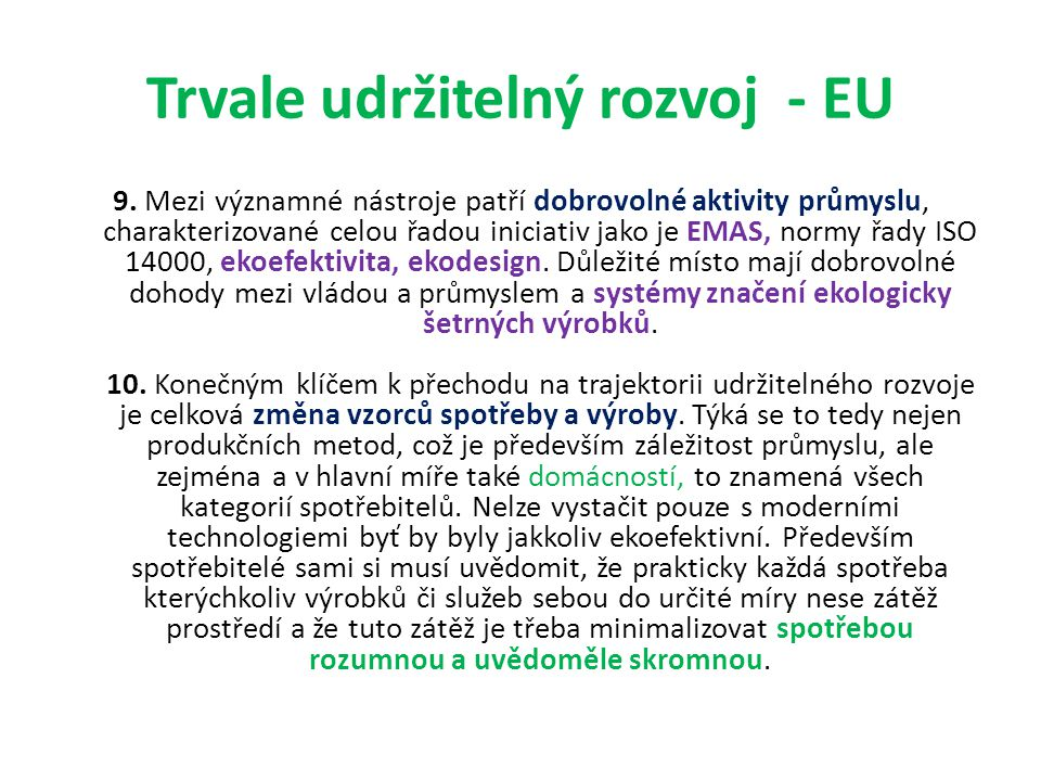 Trvale udržitelný rozvoj - EU