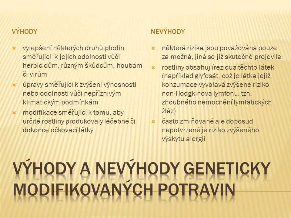 Výhody a nevýhody geneticky modifikovaných potravin