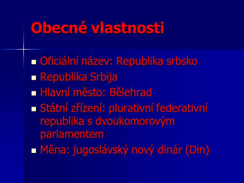 Obecné vlastnosti Oficiální název: Republika srbsko Republika Srbija