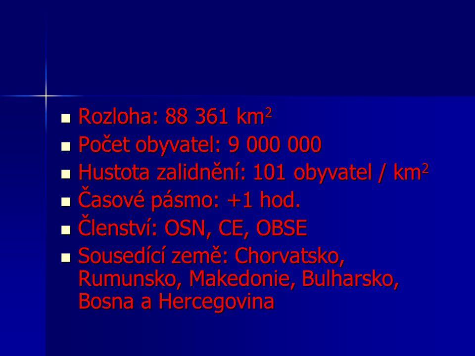 Rozloha: 88 361 km2 Počet obyvatel: 9 000 000. Hustota zalidnění: 101 obyvatel / km2. Časové pásmo: +1 hod.