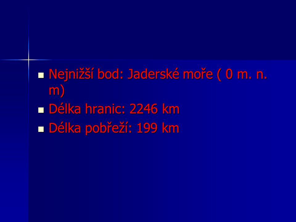 Nejnižší bod: Jaderské moře ( 0 m. n. m)