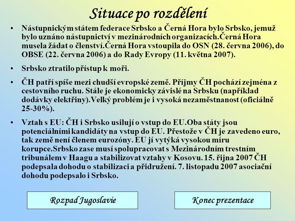 Situace po rozdělení Rozpad Jugoslavie Konec prezentace