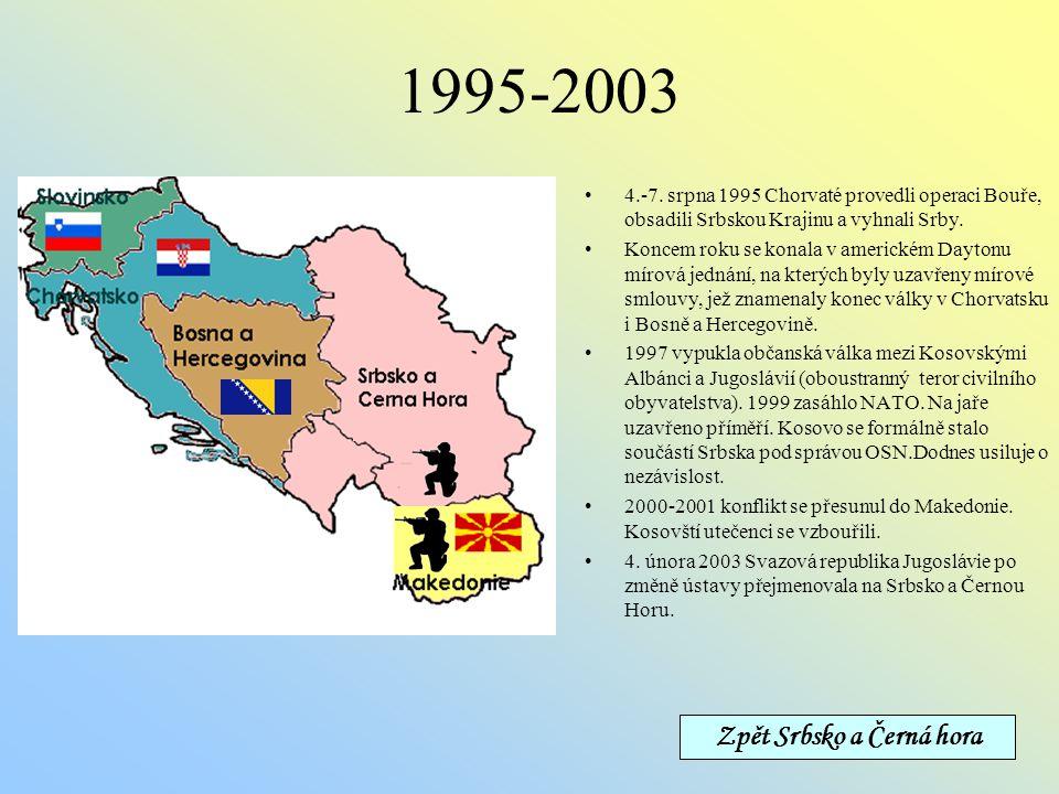 Zpět Srbsko a Černá hora