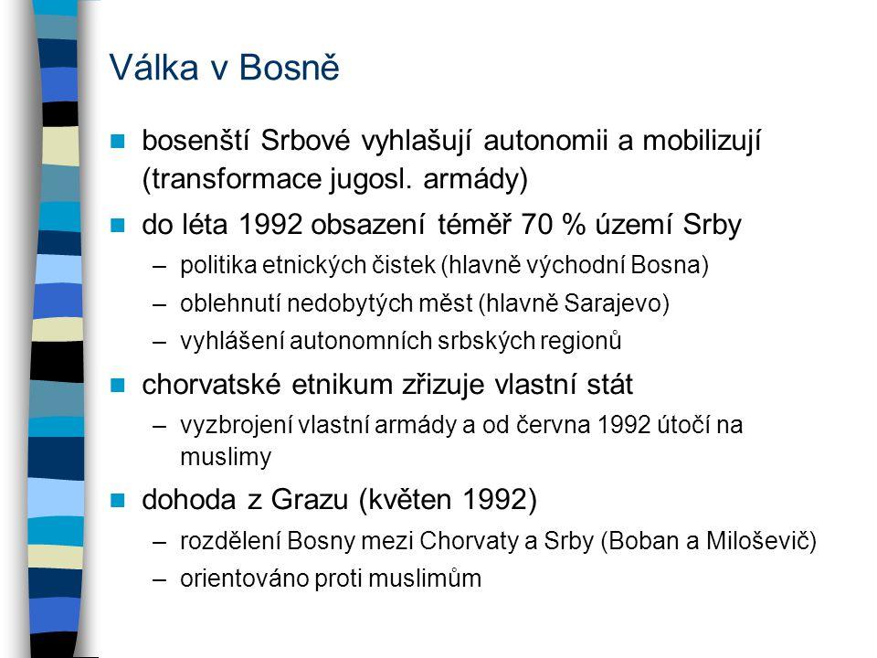 Válka v Bosně bosenští Srbové vyhlašují autonomii a mobilizují (transformace jugosl. armády) do léta 1992 obsazení téměř 70 % území Srby.