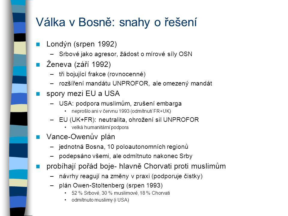 Válka v Bosně: snahy o řešení