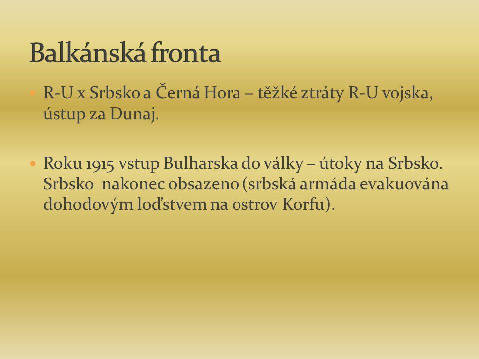 Balkánská fronta R-U x Srbsko a Černá Hora – těžké ztráty R-U vojska, ústup za Dunaj.