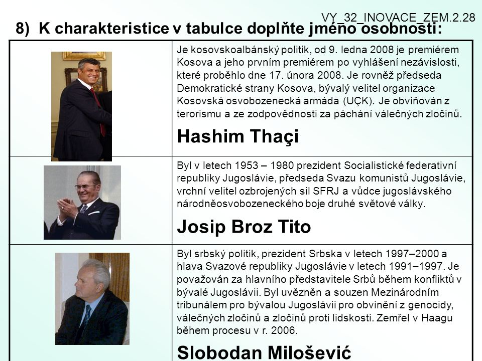 8) K charakteristice v tabulce doplňte jméno osobnosti: