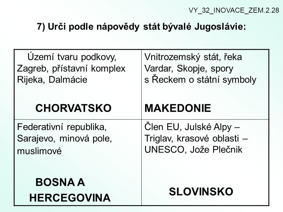 7) Urči podle nápovědy stát bývalé Jugoslávie:
