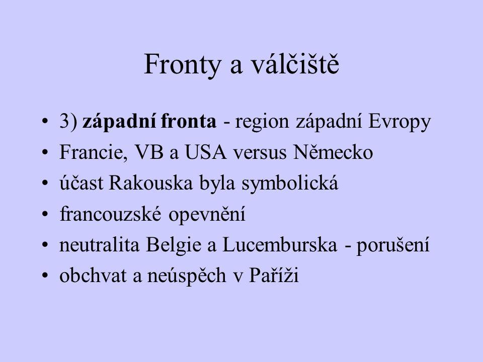 Fronty a válčiště 3) západní fronta - region západní Evropy