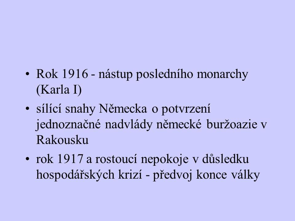 Rok 1916 - nástup posledního monarchy (Karla I)