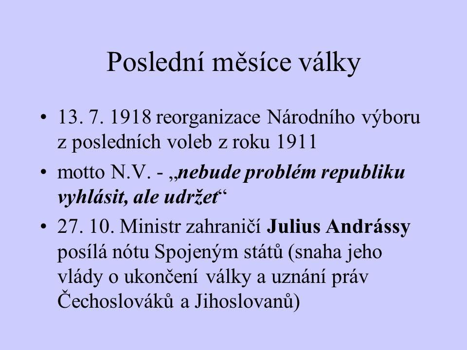 Poslední měsíce války 13. 7. 1918 reorganizace Národního výboru z posledních voleb z roku 1911.