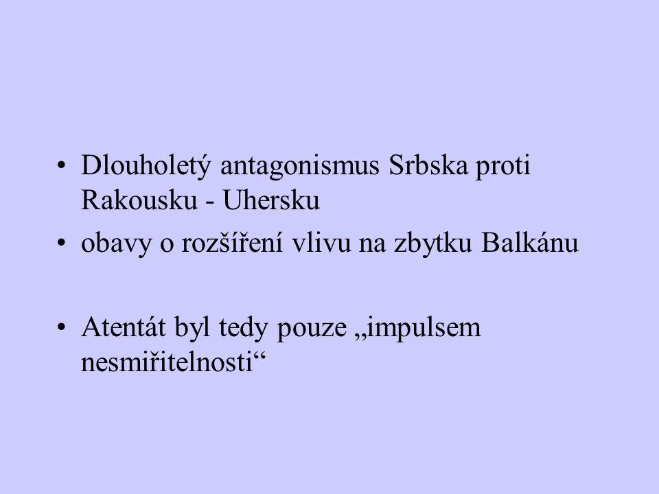 Dlouholetý antagonismus Srbska proti Rakousku - Uhersku