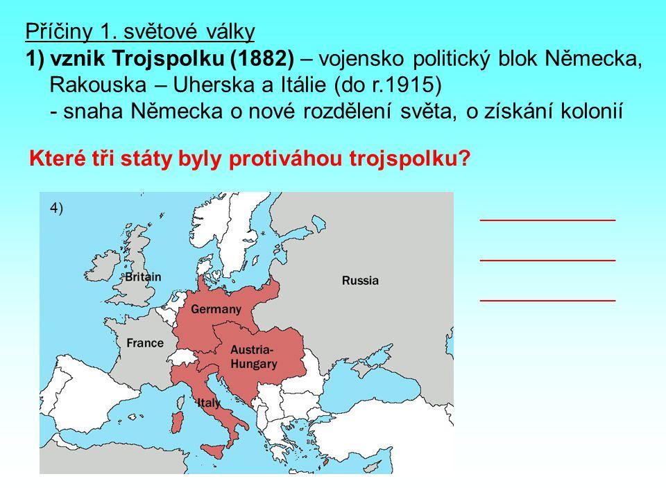 vznik Trojspolku (1882) – vojensko politický blok Německa,