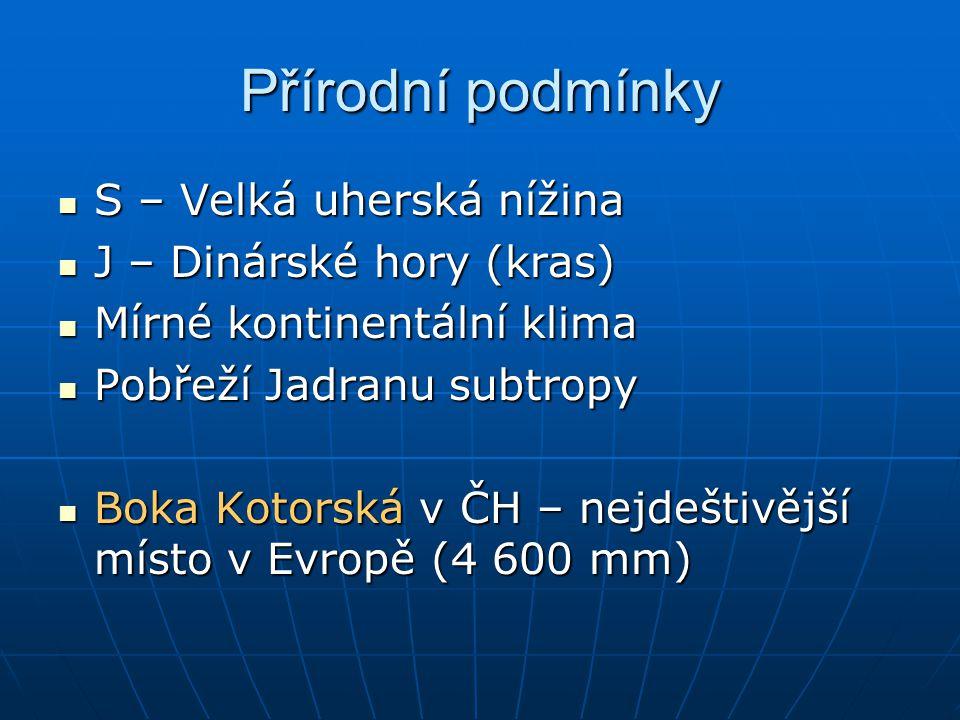 Přírodní podmínky S – Velká uherská nížina J – Dinárské hory (kras)