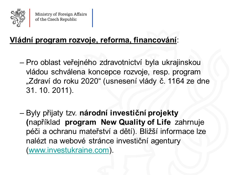 Vládní program rozvoje, reforma, financování: