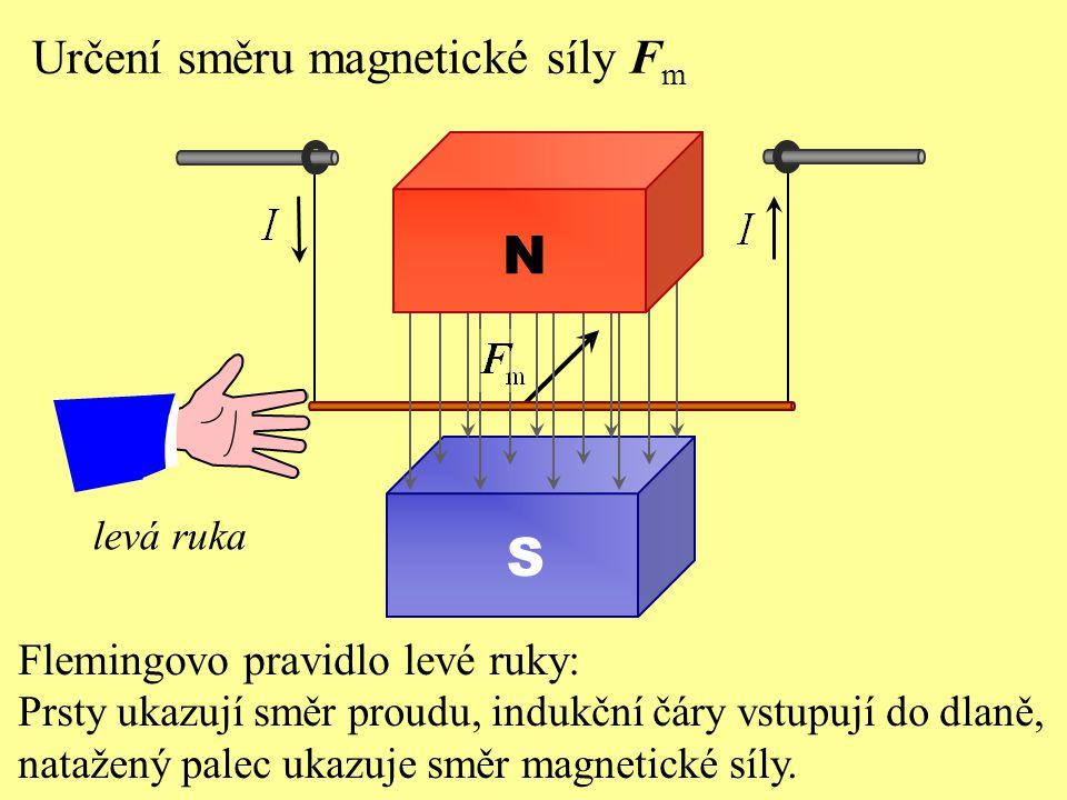 N S Určení směru magnetické síly Fm Flemingovo pravidlo levé ruky: