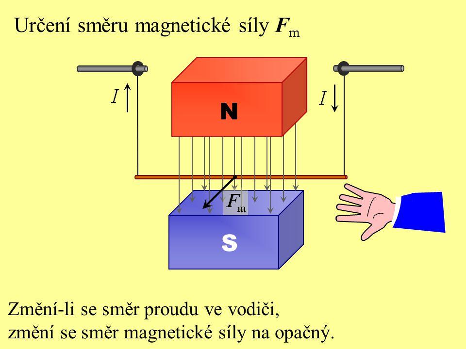 N S Určení směru magnetické síly Fm Změní-li se směr proudu ve vodiči,