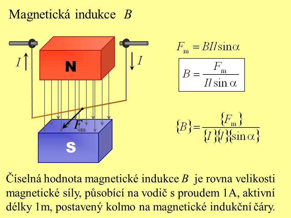 N S Magnetická indukce B