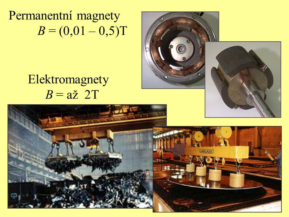 Permanentní magnety B = (0,01 – 0,5)T Elektromagnety B = až 2T