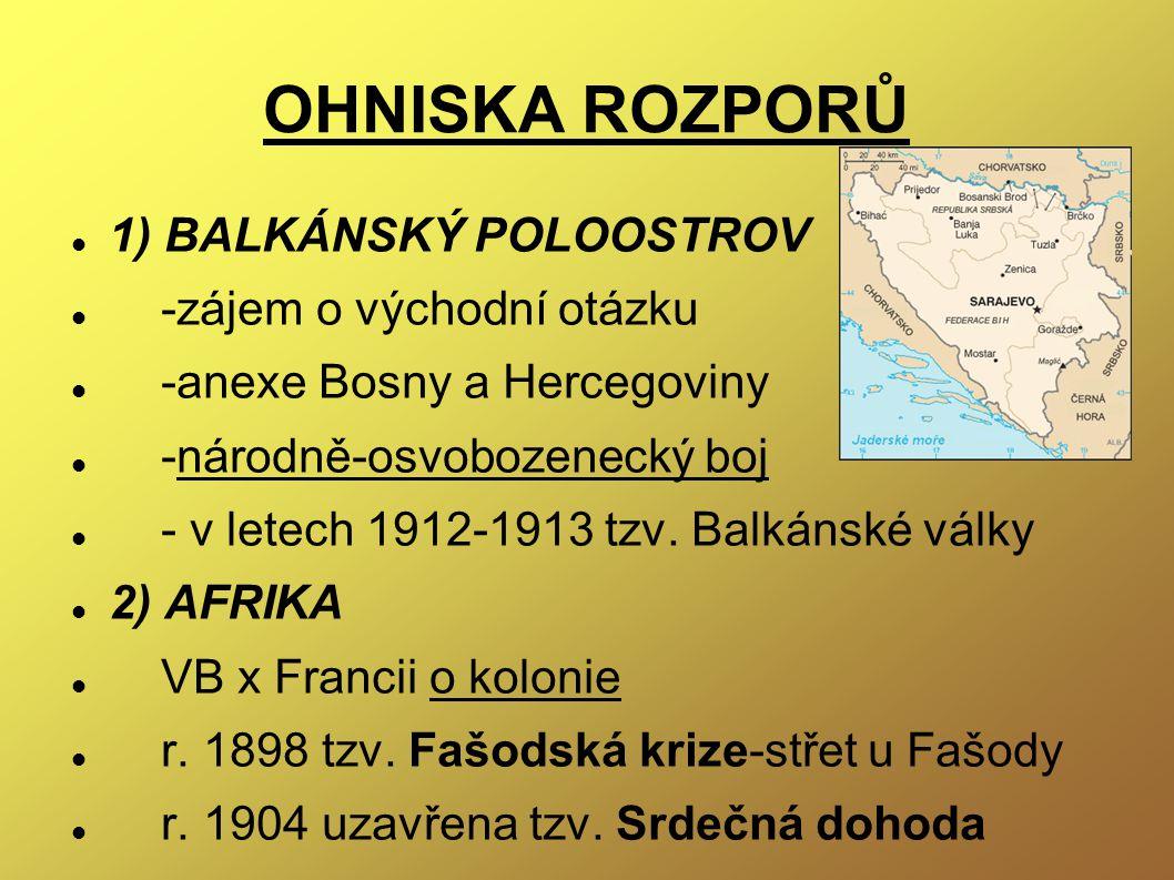OHNISKA ROZPORŮ 1) BALKÁNSKÝ POLOOSTROV -zájem o východní otázku