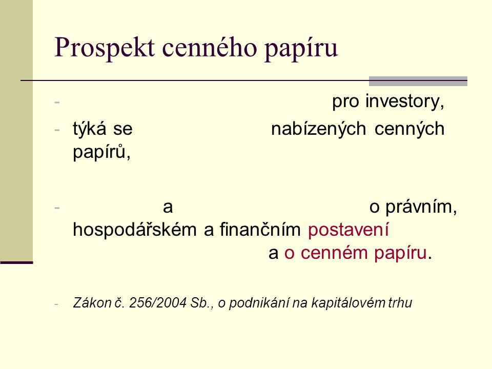 Prospekt cenného papíru