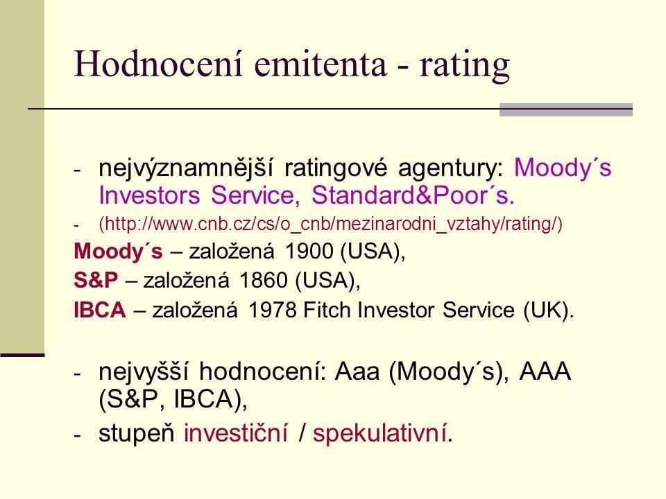 Hodnocení emitenta - rating