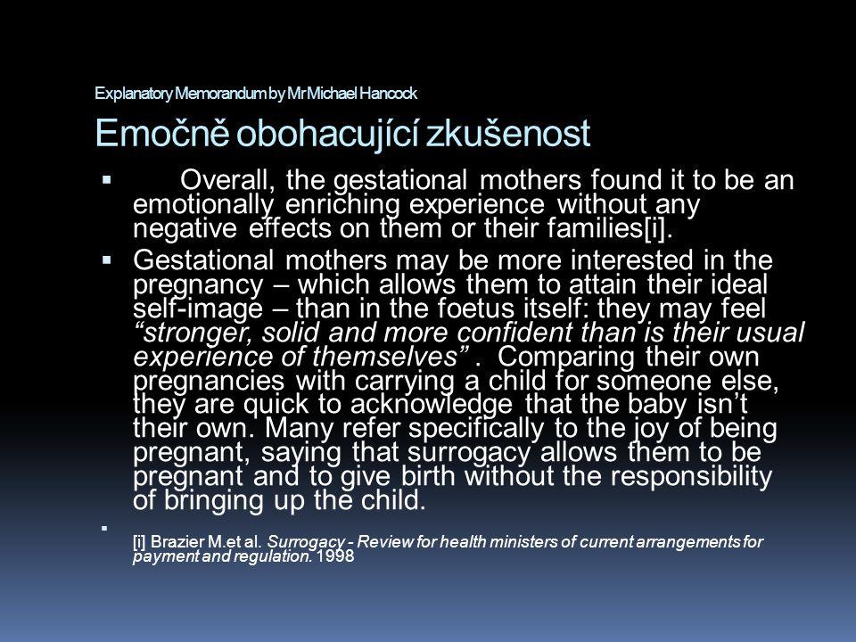 Explanatory Memorandum by Mr Michael Hancock Emočně obohacující zkušenost