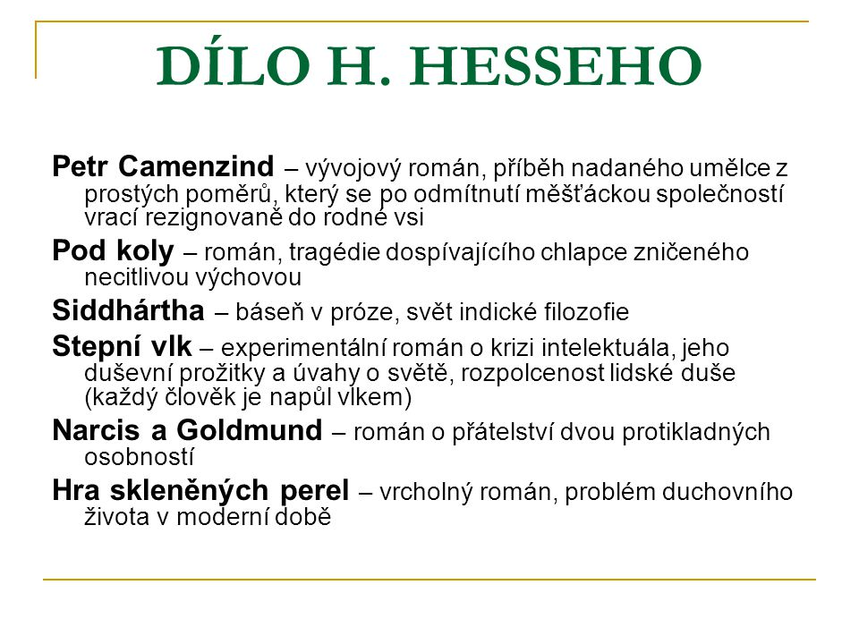 DÍLO H. HESSEHO
