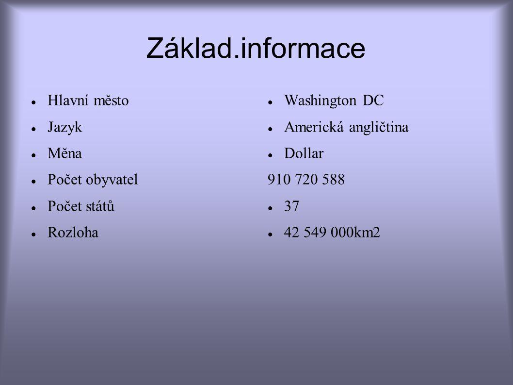 Základ.informace Hlavní město Jazyk Měna Počet obyvatel Počet států