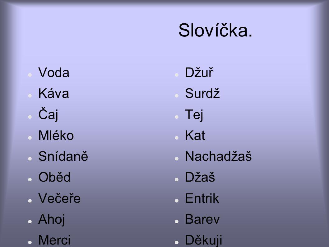 Slovíčka. Voda Káva Čaj Mléko Snídaně Oběd Večeře Ahoj Merci Prominte