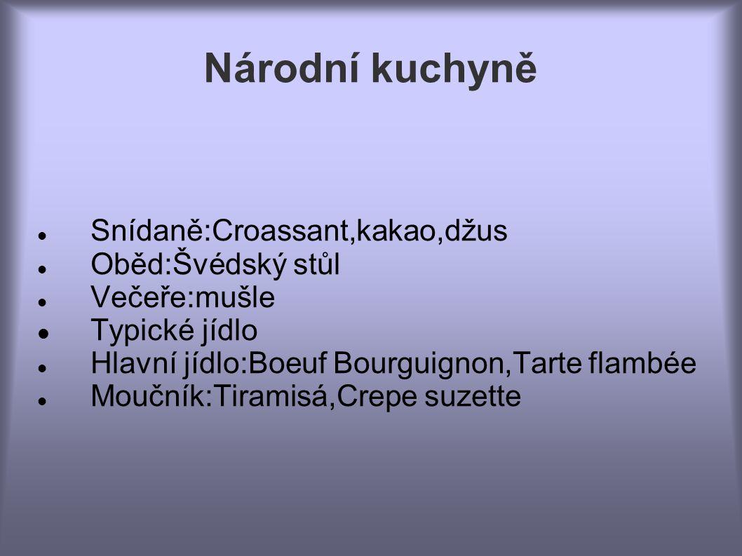 Národní kuchyně  Typické jídlo  Snídaně:Croassant,kakao,džus