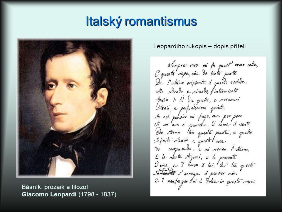 Italský romantismus Leopardiho rukopis – dopis příteli