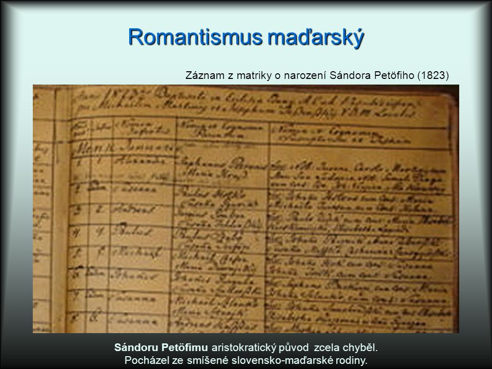 Romantismus maďarský Záznam z matriky o narození Sándora Petöfiho (1823) Sándoru Petöfimu aristokratický původ zcela chyběl.