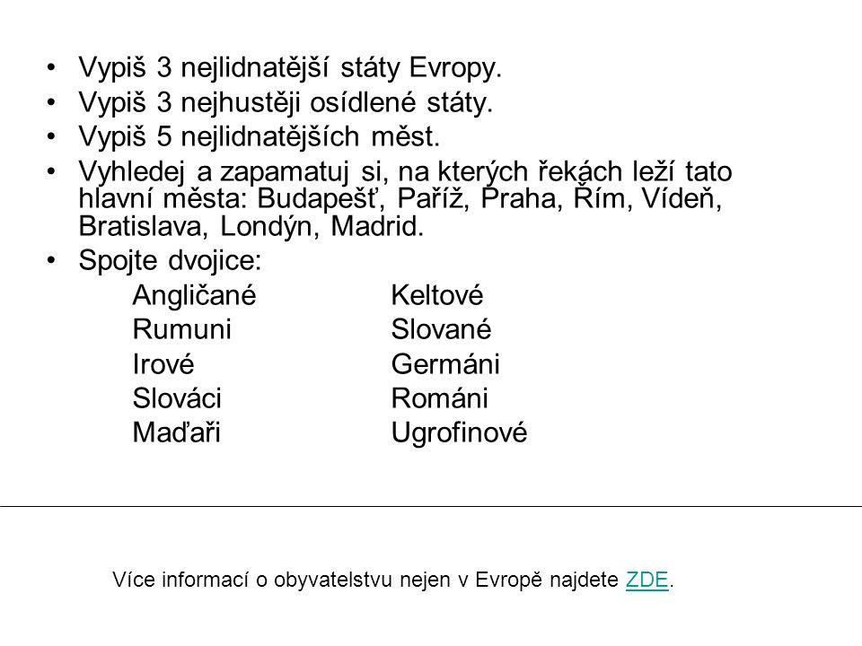 Vypiš 3 nejlidnatější státy Evropy. Vypiš 3 nejhustěji osídlené státy.